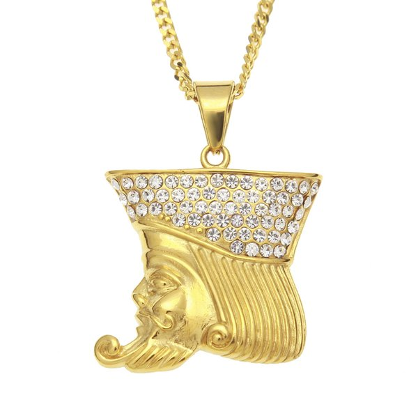 Playing Card K Caesar Figure Necklaces Pendants Stainless Steel Gold Color Roman King Fashion Jewelry Hiphop Cuban Chain