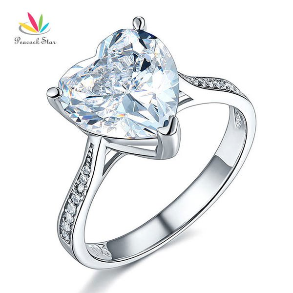 Peacock Star Solid 925 Sterling Silver Wedding Engagement Ring 3.5 Carat Heart Jewelry CFR8215 S18101607