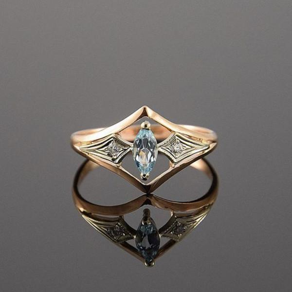Anelli di nozze di colore oro per Wome Anello di pietra blu chiaro Anello di cristallo bianco Gioielli classici Bague Femme Dimensione dell'anello 6-10 #