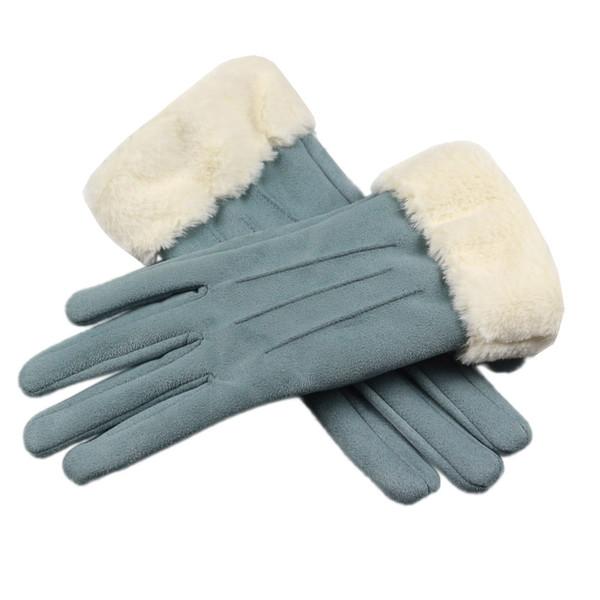 Moda mujer guantes otoño invierno cálido imitación piel mitones 2019 guantes de invierno hombres de gamuza sintética de cuero dedo completo antideslizante