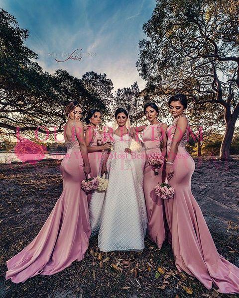 2019 Elegant Back Mermaid Bridesmaid Dresses Pink Sweep Train Elastic Silk like Satin Maid Of Honor Wedding Guest Gown Formal Custom Made