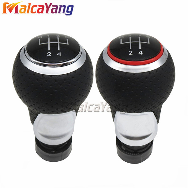 Red & Silver Ring 5 Speed Leather Gear Shift Knob Black For Audi A4 S4 B8 8K A5 8T Q5 8R S Line 2007-2015