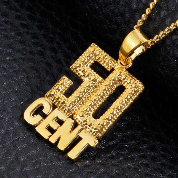 50cm Herren Männer Hip Mit Anhänger Kette Für Hop Gold Schmuck 50 Von Vergoldetem Cent Halsketten Großhandel Edelstahl Lange zVSGLUqMp