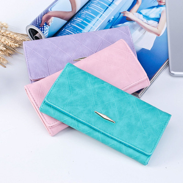 New fashion Ling grid embossed PU wallet purse Ladies clutch long purse 2 fold Female Hasp coin purse card holder