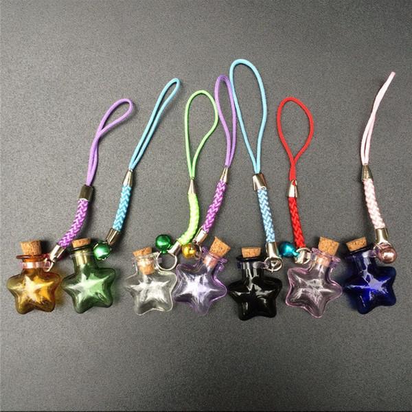 50pcs Mini Stars Bottles Crafts with Nylon Rope Key Chains Mini Bracelets Jars Glass BottlesCrafts Mixed Color Free Shipping