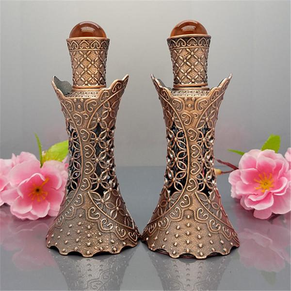 15ml Glass Ancients Vintage Bronze Slim Bottles,Hollow Flower Precious  Stone Accents Empty Arabic Perfume Glass Bottle Perfume Bottle Designer  Perfume