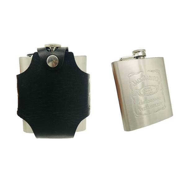 New arrival bpa free 7oz whisky Imprint flagon cccp Stainless steel alcohol hip flask with PU LEATHER BAG