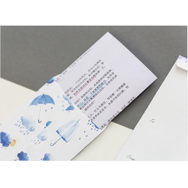 5 STÜCKE Cartoon Niedlichen Regentropfen Umschlag Schreibpapier Schreibwaren Kawaii Geburtstag Weihnachten Cpostcard Geschenkkarten an Freunde