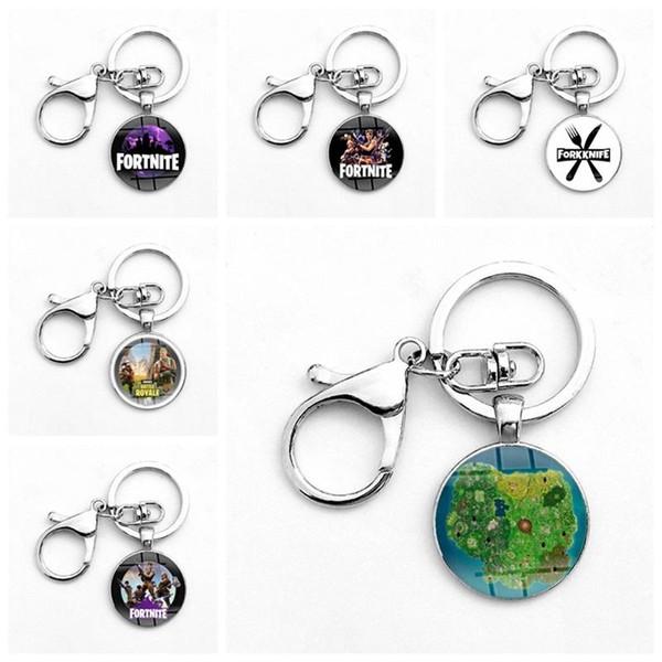 Fashion New Designer Key Ring With Buckle Fortnite Battle Royale Theme Game Keychain Cartoon Style Pendant Many Styles