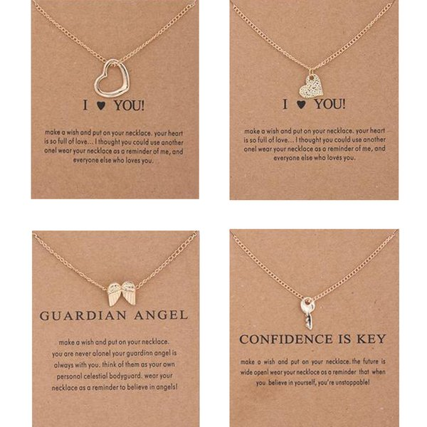 2018 New Dogeared choker Necklaces With card Gold Circle Elephant Pearl Love Wings Cross Key Pendant Necklace For Fashion women Jewelry
