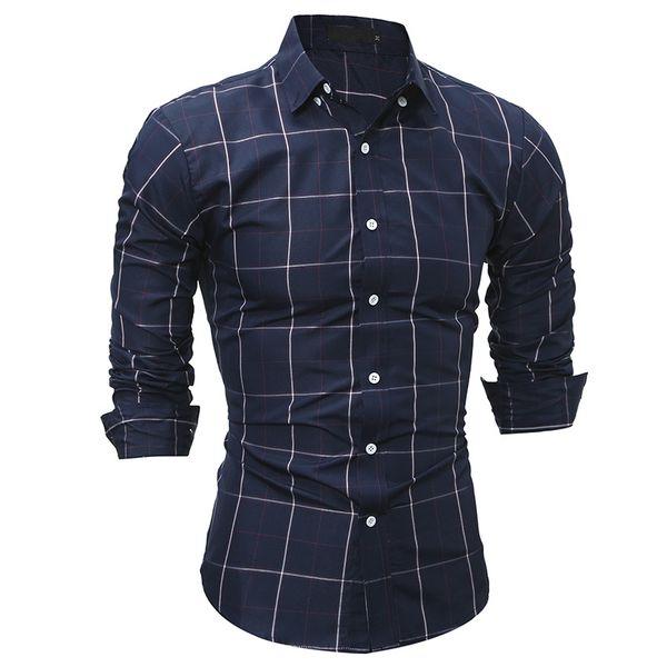 Checkerboard Men Shirt Slim Fit Dress Shirt Long Sleeve Camisa Masculina