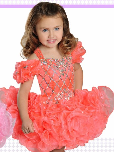Princess Cold sholder Orange Girls Pageant Dresses For Toddlers Infant Designer Short Sleeves Sequined Beaded Organza Ruffles Party Dress