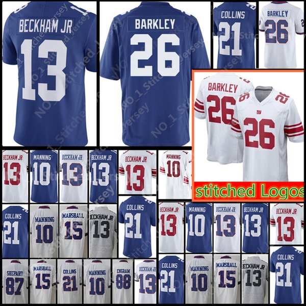 purchase cheap c2a45 3b649 2019 New York Giants 26 Saquon Barkley 13 Odell Beckham Jr Jersey Men'S 10  Eli Manning 21 Landon Collins 15 Marshall Football Jerseys From ...