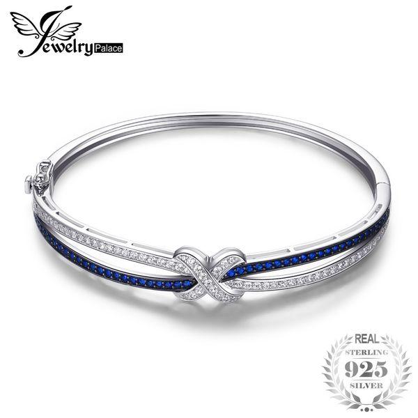 JewelryPalace х Марк 1.1 ct создан синий шпинель браслет стерлингового серебра 925 ювелирных украшений новый Оптовая продвижение