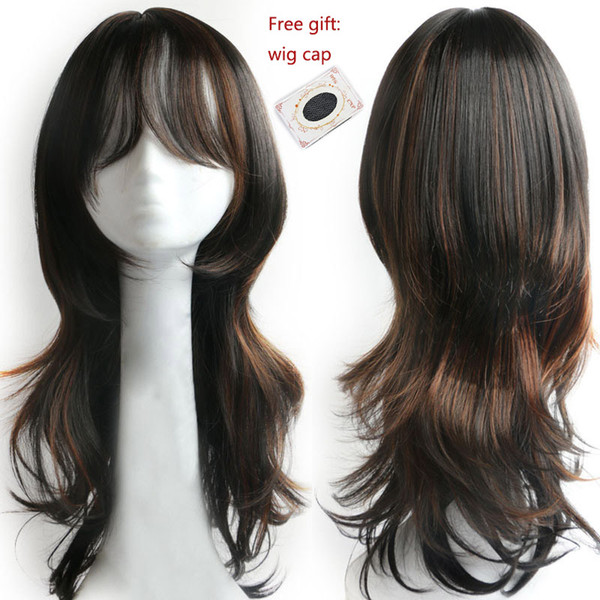 Synthetic Hair Wigs For Women Natural Style Fashion Ladies Wig Long Wavy  Daily Party Cosplay Wig With Bangs Ombre Hair African American Wigs Blonde