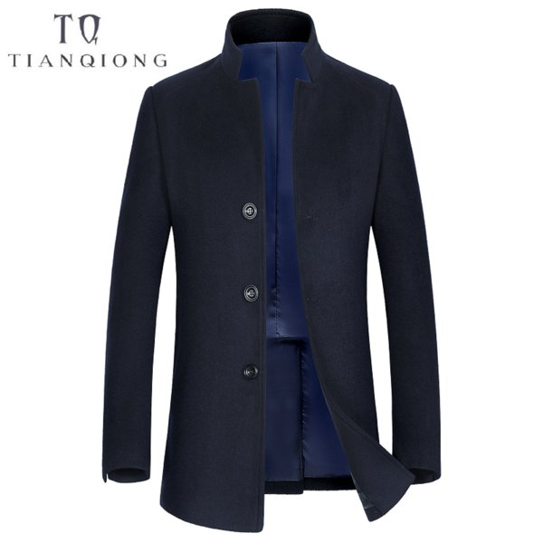 luxury 2018 winter new style men's slim woolen coat thick warm single-breasted stand collar business casual coat