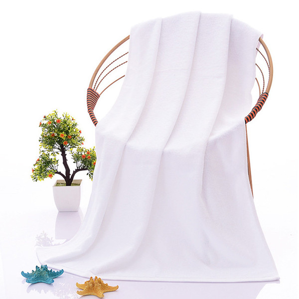 Manufacturers wholesale 70X140cm, new thickened adult white towels, beach towel, white hotel fitness beauty salon towels, promotional gifts
