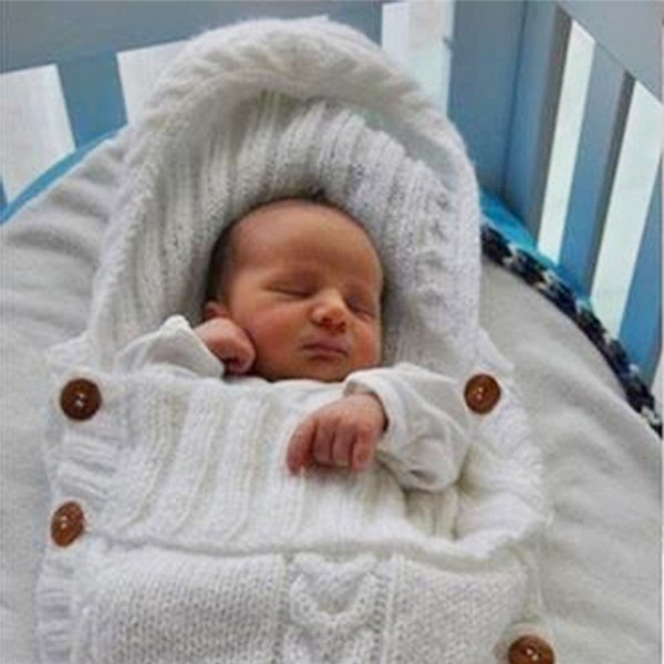 Neugeborenes Baby Unisex Schlafsack Winter warme Umschläge Wollsack Gestrickte Hoodie Swaddle Wrap Nette weiche Säuglingswindeln Decke