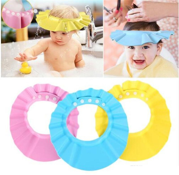 top popular Adjustable Baby Hat Toddler Kids Shampoo Bath Bathing Shower Cap Wash Hair Shield Direct Visor Caps For Children Baby Care TO349 2021