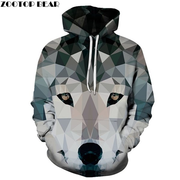 Diamond Wolf Impreso 3D Hoodies Hombres Sudaderas Animal Hooded Pullover Moda Otoño Chándal Hombre Hoodie Caliente 6xl Calidad Nuevo