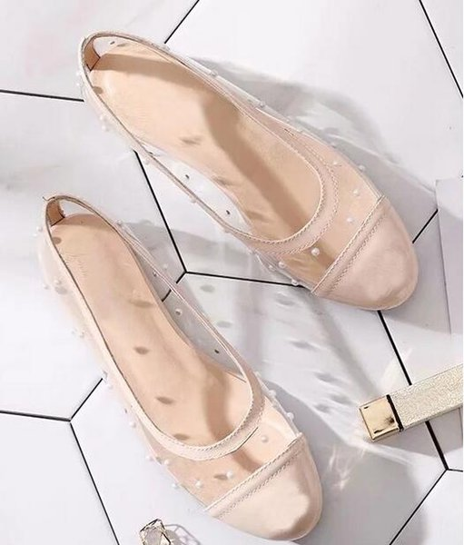 HOT women Flat Shoe Women's Sandals Elegant Ladies Solid Shallow Mouth Patent Leather Net Cloth Pointed shoes Bowtie Sandals Pearl shoes