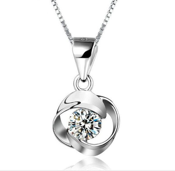 High Quality Crystal Diamonds Pendant 925 Sterling Silver Fashion Class Women Girls Lady Swarovski Elements Jewelry Valentine's Day Gift