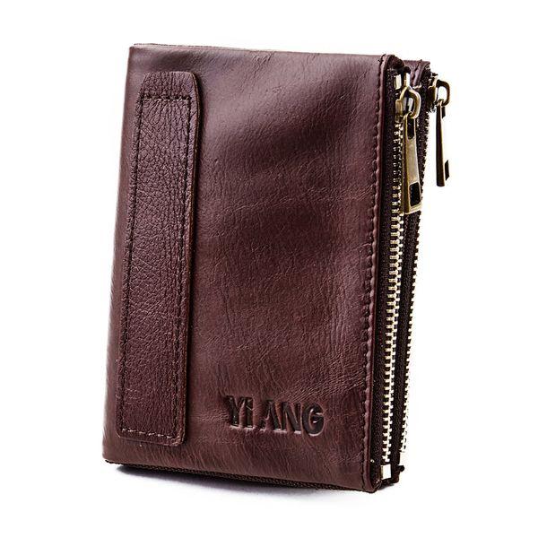 Genuine Leather Money Zipper Bifold Purse  Holder Clip Fashion Oil Wax Cowhide Coin Key Bag Small Men Short Wallet
