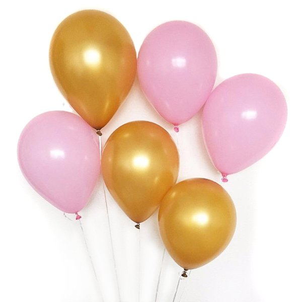 40Pcs Latex Metallic Balloons Gold Pink Latex Balloons for Birthday Festival Party Decoration Event Party Supplies