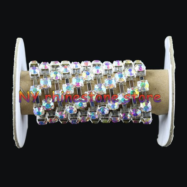 10yards/roll ss6-ss40 Clear ab rhinestones Crystal glass Rhinestone chain Silver chain for phone,cups,mouse,applique