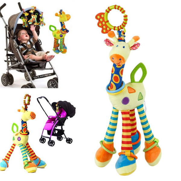 New Infant Cotton Baby Development Soft Giraffe Animal Handbells Rattles Handle Toys Develop children 's imagination
