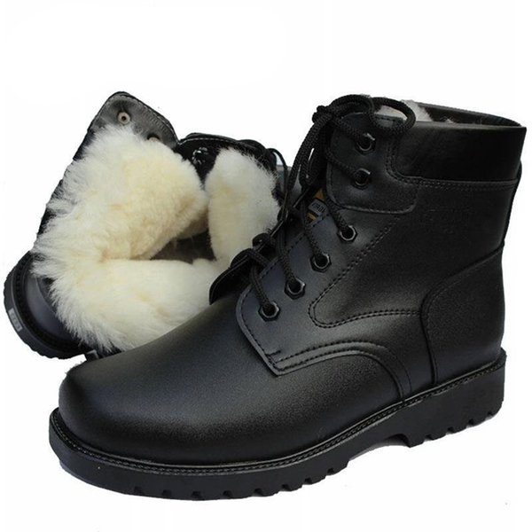 Fashion Men Snow Boots Men Winter Military Shoes Natural Wool Warm Combat Boots Vintage Style Casual Waterproof Motorcycle Boots 2019