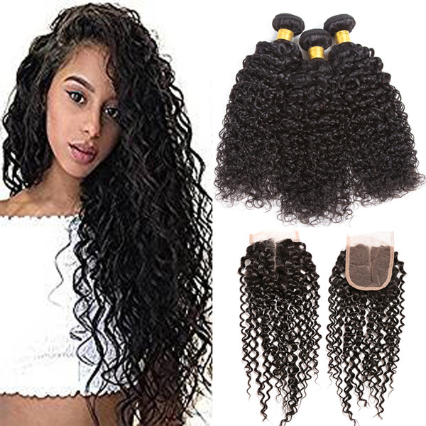 Hot Sale 8A Filipino Virgin Hair with 4x4 Lace Closure 3pcs Straight Body Wave Kinky Curly Hair and Lace Closure 100% Remy Human Hair Weaves
