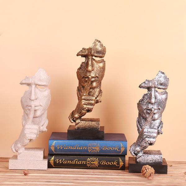Salon créatif art ornements meubles silence est le penseur d'or sculpture rétro résine artisanat décoration