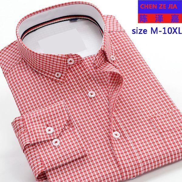 New arrival cotton fashion Plaid Mens long sleeve high quality shirts formal autumn very big large plus size M-7XL8XL9XL 10XL
