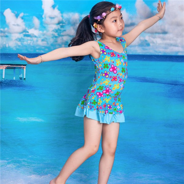 2016 girl one piece baby swimwear kids girls swim wear swimsuit toddler print cheap china clothes free shipping for WJS-8625
