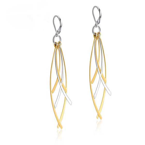 Long Drop Earrings for Women EURO-US Style Gold and Silver Color Stainless Steel Tassel Ear Fashion Dangle Earring