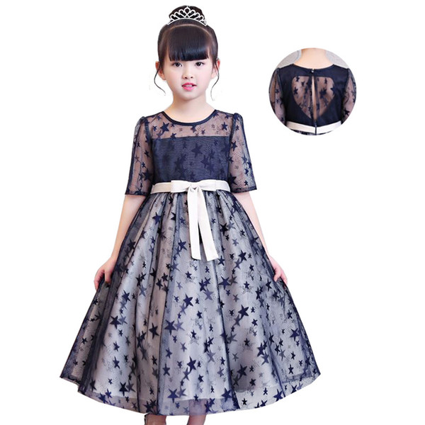 flower girl princess party Dresses 2018 children clothing Birthday Star printing girl catwalk show long section baby girl christmas clothes