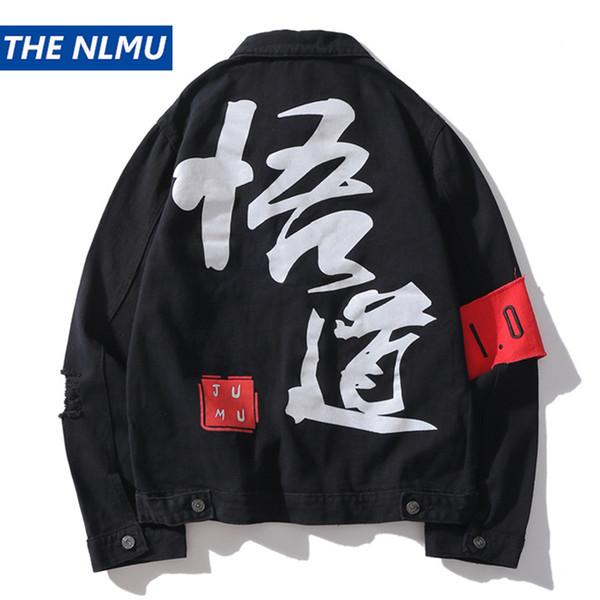 Caractère Chinois Imprimer Denim Vestes Hommes 2018 Mode Coton Déchiré Trou Jeans Veste Manteau Mâle Hip Hop Streetwear WS740