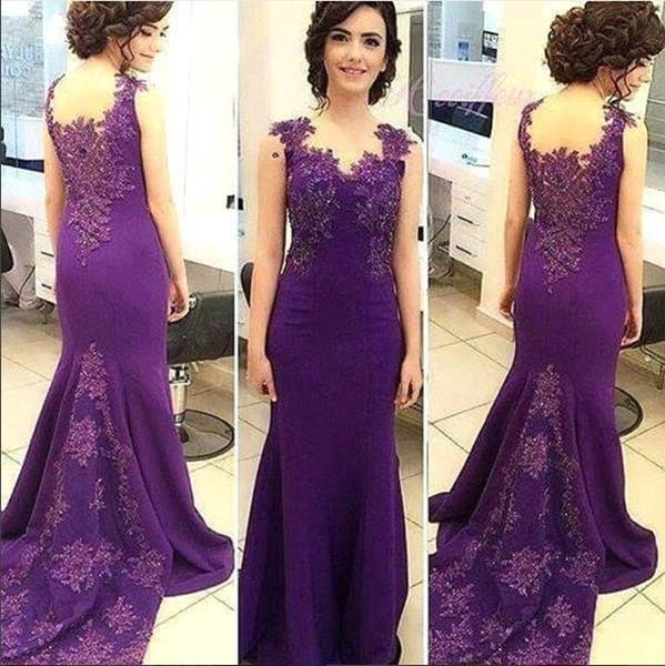 Elegant Purple Mother of Bride Groom Dresses For Weddings Mermaid Party Occasion Wears 2018 Mermaid Appliqued Formal Evening Gowns