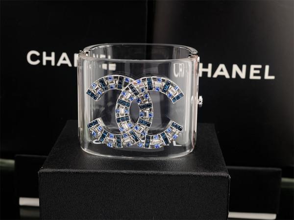 Letter bracelet Woman diamond BRACELET CUFF clear Crystal pearl Punk Retro skull bracelet With Box