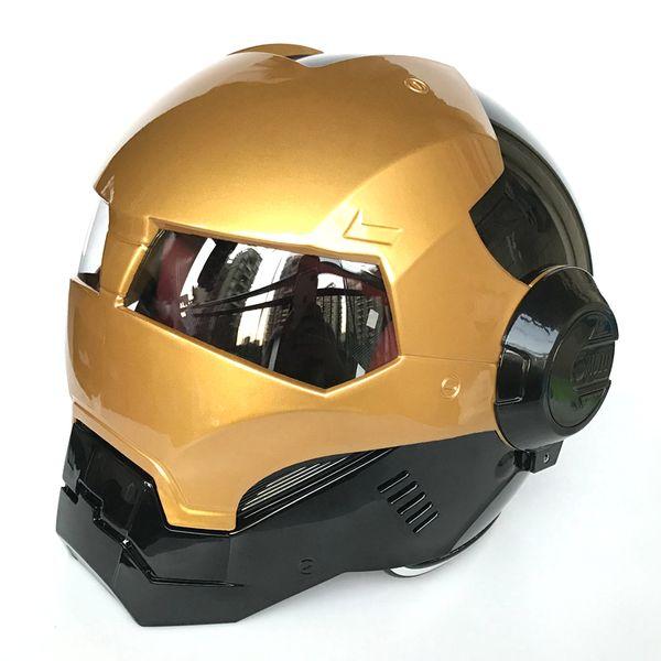 MASEI Bright Gold Black ABS Iron Man helmet 610 motorcycle half open face helmet casque motocross M L XL
