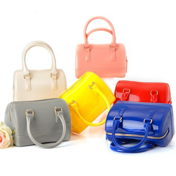 JELLYOOY Small Size 18cm PVC Mini Women Jelly handbag Kids Pillow Shoulder Bag Candy Color Silicon Tote Beach messenger Bag Y18102303