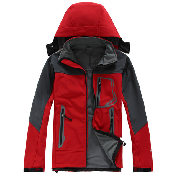Classic BRAND MEN's oudoor hooded Polartec softshell norTh Jacket Male Sports Windproof Waterproof Breathable winter face Coats Outerwear