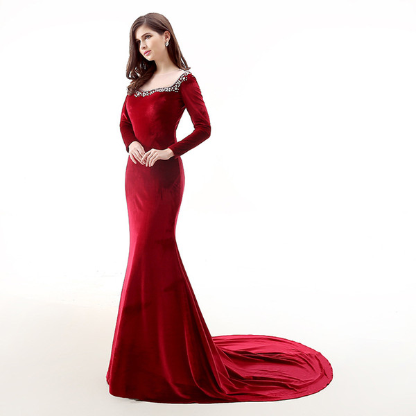 Dark Red Velvet Evening Dresses Long Sleeves Sheer with beading Mermaid Prom Dress redcarpet dresses fall winter runway dress