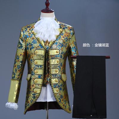 Freeship mens luxury jacquard embroidery general prince cosplay meadieval vintage jacket/bar/club/studio/stage performance jacket
