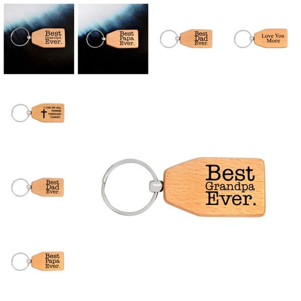 Kreative Beste Papa Papa Immer Englisch Brief Design Keychain Holzschlüssel Ring Klassischen Stil Schlüssel Schnalle Für Vatertag Geschenke 2 66qq Z