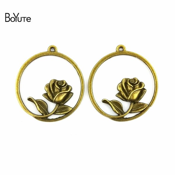 BoYuTe (40 Pieces/Lot) 33.5MM Antique Bronze Plated Zinc Alloy Rose Charms Pendant for Jewelry Making Necklace Bracelet Diy Hand Made