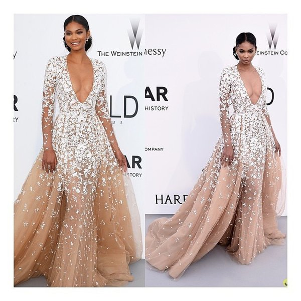 Designer Champagne Mermaid Overskirt Evening Dresses Africa Applique White Floral Flower Plugging Illusion Long Sleeve Prom Party Gown Dubai