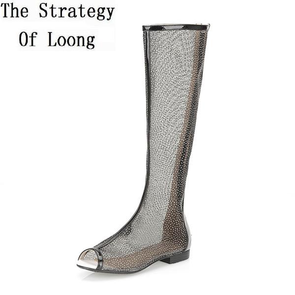 2017 New Summer Women Flats Cut Out Long Boots Open The Toe Summer Boots Knee High Gladiator Peep Toe Sandals SXQ0604