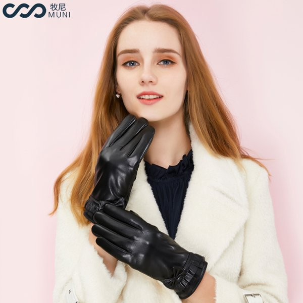Women Sheepskin Gloves Lace Touchscreen Texting Winter Genuine Leather Fashion 2018 Luxury Wrist Driving Elegant Black Gloves